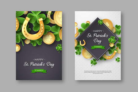 St. Patricks Day posters. Clover leaves, golden horseshoes and coins on spotted background for greeting holiday design. Vector illustration. Illustration