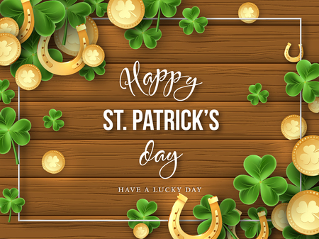 St. Patricks Day background. Clover leaves, golden horseshoes and coins on wooden texture for greeting holiday design. Vector illustration. Vektorové ilustrace