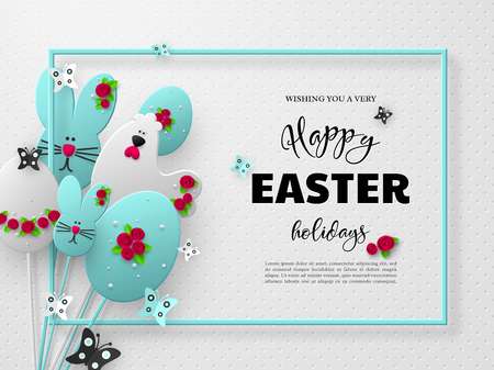 Happy Easter holiday design. 3d paper cut eggs, bunnies and hens decorated flowers with frame and butterfly. White spotted background. Vector. Иллюстрация