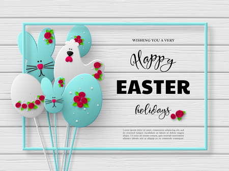 Happy Easter holiday design. 3d paper cut eggs, bunnies and hens decorated flowers with frame. White wooden background. Vector. Illustration