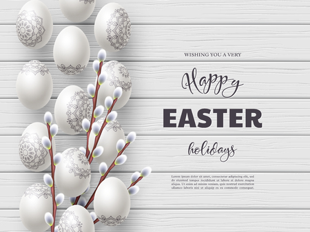 Happy Easter holiday composition with Easter eggs and willow branches on white wooden background. Top view with greeting text. Vector illustration.