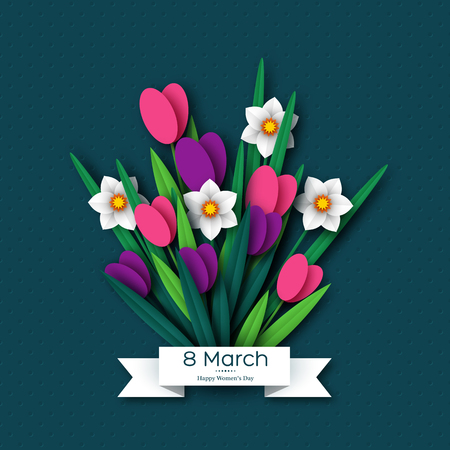 8 March greeting card for International Womens Day. Bouquet of paper cut spring flowers tulips and narcissus on dark spotted background. Vector illustration. Banque d'images - 117004810
