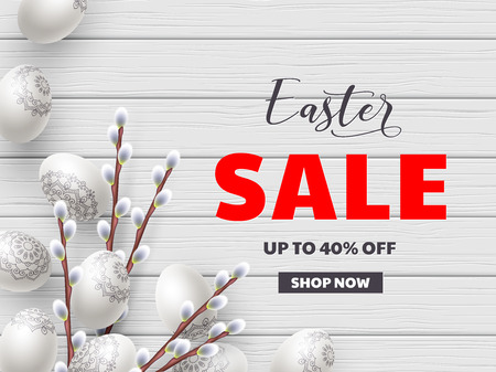 Easter sale offer. Vector template for Easter holidays discounts. 3d eggs and willow branches on white wooden background. Top view.
