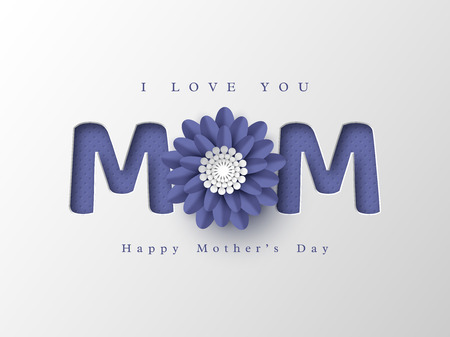 Happy Mothers day greeting card. Paper cut flower with 3d letters, white holiday background. Vector illustration. Çizim