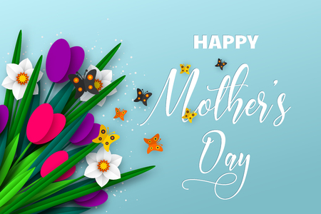 Happy Mothers day poster. 3d paper cut bouquet of spring flowers tulip and narcissus with butterfly, turquoise background. Vector illustration. Çizim