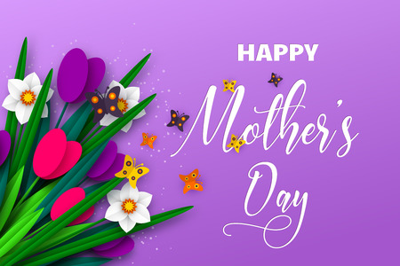 Happy Mothers day poster. 3d paper cut bouquet of spring flowers tulip and narcissus with butterfly, purple background. Vector illustration. Çizim