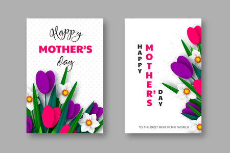 Happy Mothers day posters. 3d paper cut bouquet of spring flowers tulip and narcissus, white background. Vector illustration.