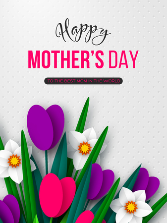 Happy Mothers day poster. 3d paper cut bouquet of spring flowers tulip and narcissus, white spotted background. Vector illustration. Çizim