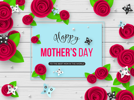 Happy Mothers day greeting card. 3d paper cut flowers with butterfly and frame, wood texture background. Vector illustration.