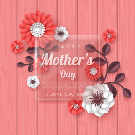 Happy Mothers day greeting card. 3d paper cut bouquet of paper cut flowers with glass transparent frame, coral color wood texture background. Place for text. Vector illustration.