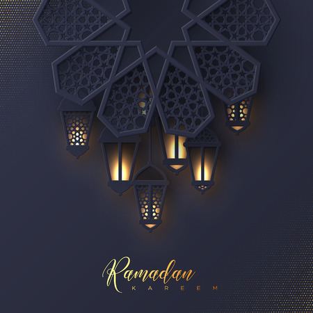 斋月kareem贺卡。3d纸裁减花装饰了传统伊斯兰教的样式与发光的垂悬的灯笼,金黄问候文本,黑暗的背景。矢量图。