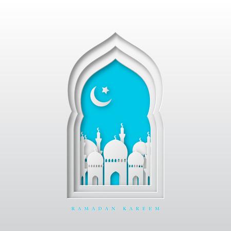 Fondo de saludo de Ramadán Kareem. Ventana árabe de corte de papel 3d con mezquita y media luna. Diseño para tarjetas de felicitación, pancartas o carteles. Ilustración vectorial.