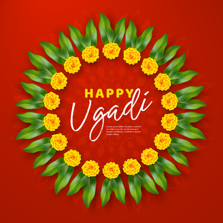 Happy Ugadi holiday composition - Hindu New Year festival. Wreath decorated flowers with mango leaves. Red rangoli background. Vector illustration. Illustration