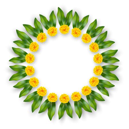 Guirnalda floral india con flores amarillas y hojas de mango. Decoración tradicional para bodas, fiestas hindúes. Aislado en blanco. Anillo de borde de vector.