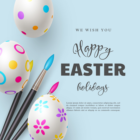 Happy Easter holiday background. 3d realistic eggs with brushes. Vector illustration. Illustration