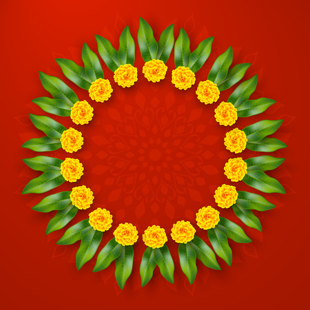Indian holiday background. Floral wreath with yellow flowers and mango leaves. Traditional decoration for wedding, hindu holidays. Vector border ring with copy space. Ilustração