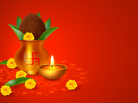 Indian holiday background. Kalash with coconut, flowers and mango leaves. Traditional decoration for wedding, hindu holidays, religious festivals. Vector with copy space. Illustration