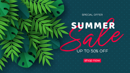 Summer sale banner with exotic jungle tropical palm leaves on dark dotted background. Template for seasonal discounts. Vector illustration.