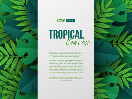 Banner with exotic jungle tropical palm leaves. Summer floral design, paper cut style. Copy space. Vector illustration.