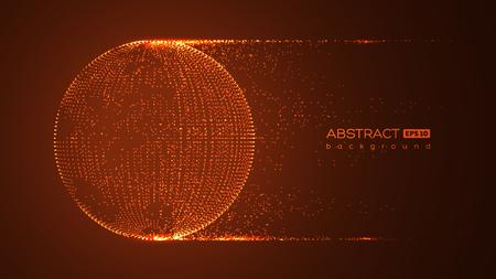 Esfera de partículas de globo abstracto con efecto de explosión. Estilo digital de tecnología 3d. Fondo del espacio rojo. Ilustración de vector futurista.