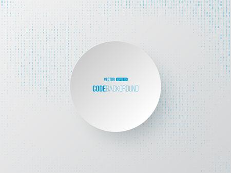 Binary code digital technology concept. Circle 3d paper label in center, white background. Vector illustration. Vektoros illusztráció
