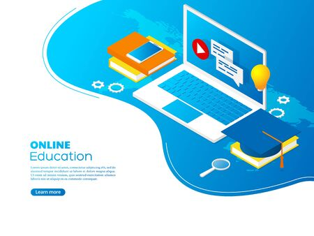 Modern isometric online education concept. Landing page for e-learning, distance education, tutorials. Vector illustration.