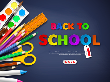 Back to school sale poster with realistic school supplies. Paper cut style letters on blackboard background. Vector illustration. Ilustração