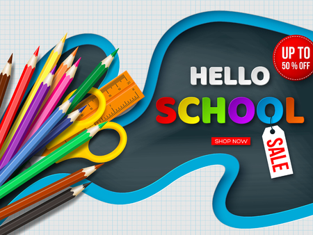 Hello school sale poster with realistic school supplies. Paper cut checkered shapes with letters on blackboard background. Vector illustration.