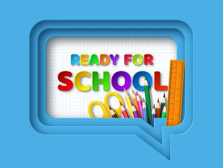 Ready to school typography design with realistic school supplies. Paper cut speech bubble with letters on checkered background. 3d layered art. Vector illustration. Ilustrace