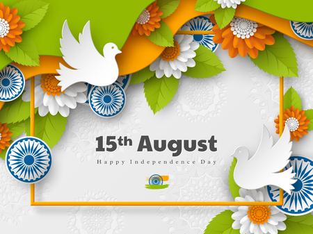 Conception de vacances de jour de l'indépendance indienne. Roues 3d, colombes, fleurs avec des feuilles en tricolore traditionnel du drapeau indien. Art en couches découpé en papier. Illustration vectorielle. Vecteurs
