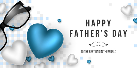 Fathers day greeting banner. 3d realistic hearts, glasses and checkered pattern. Holiday background. Vector illustration. Çizim