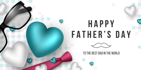 Fathers day greeting banner. 3d realistic tie, hearts, glasses and checkered pattern. Holiday background. Vector illustration. Foto de archivo - 124867648
