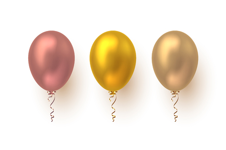 Realistic 3d glossy balloons in pink, yellow and beige colors. Vector elements for holiday backgrounds or birthday party. Isolated on white.
