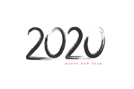 2020 New Year sign. Hand drawn grunge texture holiday symbol isolated on white background. Vector illustration.