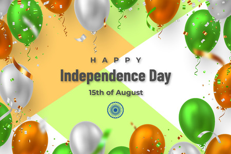 Happy Indian Independence day banner. Vector glossy balloons with confetti in traditional tricolor flag of India with greeting text.