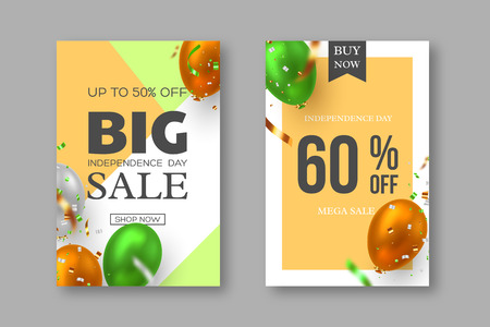 Sale posters of Indian Independence day. Vector glossy balloons with confetti in traditional tricolor flag of India. Special offer festive discount template.