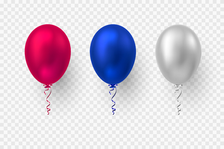 Realistic 3d glossy balloons in red, blue and white colors. Vector elements for national holiday backgrounds or birthday party. Isolated on transparent.