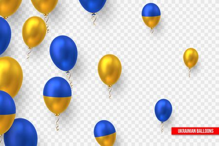 Vector glossy balloons in traditional color of Ukrainian flag. Decorative realistic elements for national holidays of Ukraine. Isolated on transparent background.
