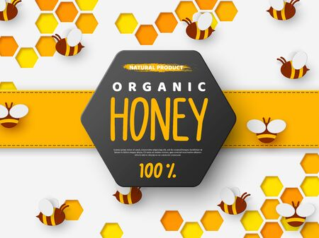 Paper cut style bee with honeycomb. Typographic design for beekeeping and honey product. Orange background, vector illustration.