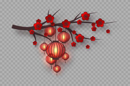 3d cherry branch with red flowers and hanging lanterns. Decorative blossom elements for Chinese New Year, festivals or holiday background. Isolated on transparent.