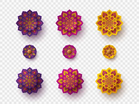 Set of rangoli for Diwali festival. Decorative 3d paper cut elements for holiday Deepavali design. Isolated on transparent, vector.