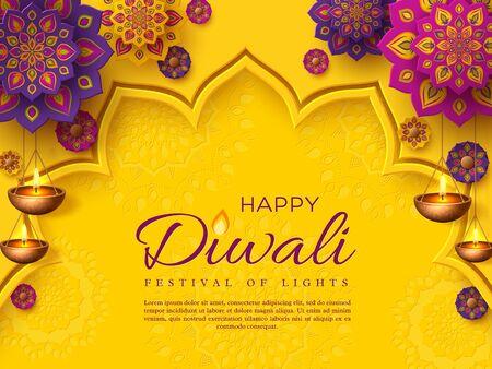 Diseño de vacaciones del festival de Diwali con estilo de corte de papel de Rangoli indio y diya colgante - lámpara de aceite. Color morado sobre fondo amarillo. Ilustración vectorial.