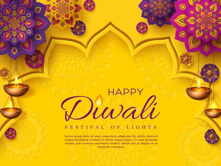 Diwali festival holiday design with paper cut style of Indian Rangoli and hanging diya - oil lamp. Purple color on yellow background. Vector illustration. Stock fotó - 126880409