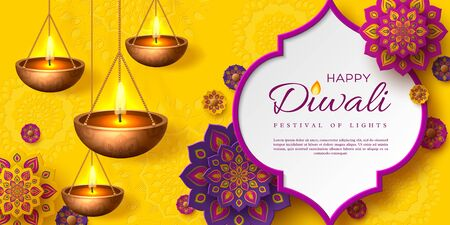 Diwali festival of lights holiday design with paper cut style of Indian Rangoli and hanging diya - oil lamp. Purple color on yellow background. Vector illustration. Çizim