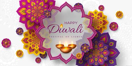 Diwali festival of lights holiday design with paper cut style of Indian Rangoli and diya - oil lamp. Purple color on white background. Vector illustration. Çizim