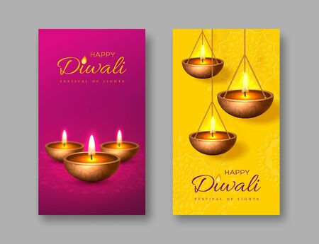 Diwali festival of lights holiday poster with diya - oil lamp. Purple and yellow rangoli background. Vector illustration.