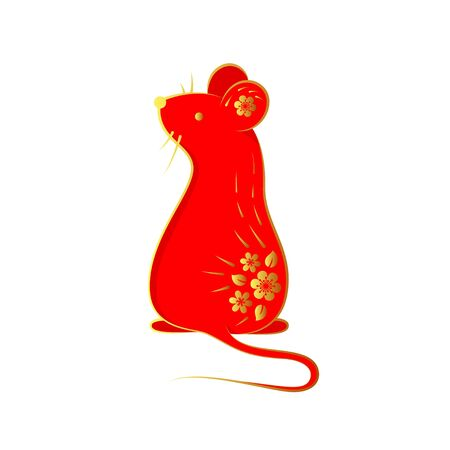 Hand drawn rat in red color decorated golden flowers. Decorative elements as Chinese zodiac sign. Isolated on white. Vector illustration. Çizim