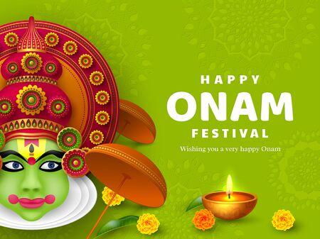 Onam festival background for South India Kerala traditional celebration. Onam Kathakali dancer with umbrella. 일러스트