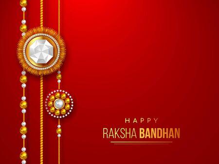 Happy Raksha Bandhan holiday background with decorated rakhi. Brother and sister celebration Rakhi festival.