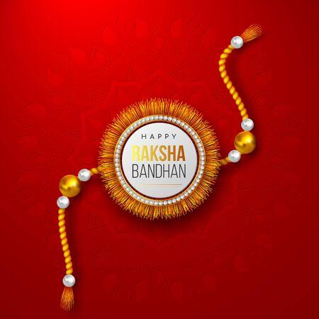 Happy Raksha Bandhan holiday background with decorated rakhi. Brother and sister celebration Rakhi festival. Vector illustration.